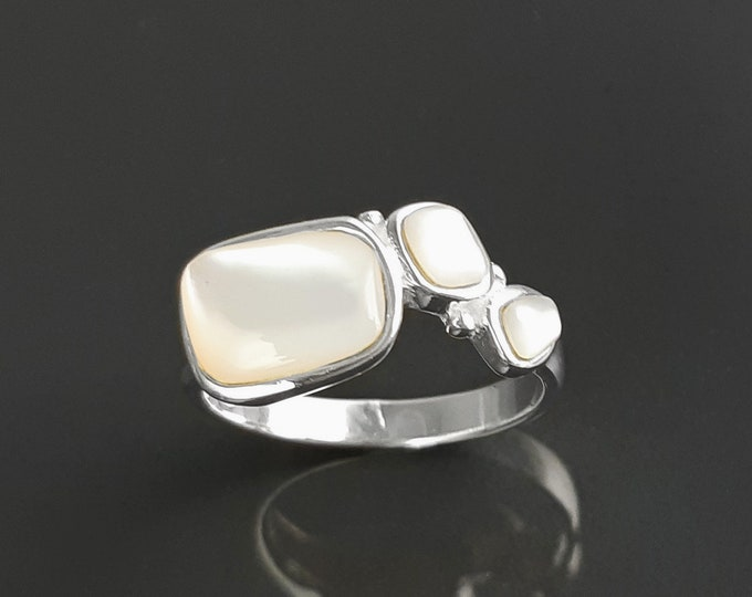 Geometric ring, sterling silver, real mother of pearl shell, white modern stone design jewelry, unusual designed dainty band jewelry
