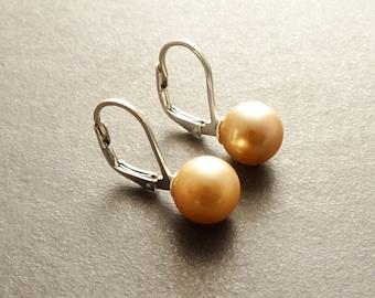 Gold Pearl Earrings, Sterling Silver, 8 mm balls Lever Back Earrings, Minimalist, GENUINE Shell Pearl Jewelry, Woman Gift