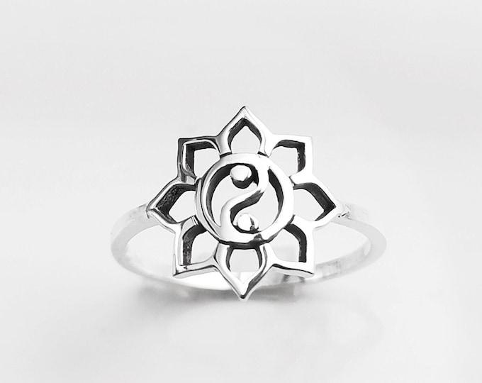 Yin Yang Lotus Ring, Sterling Silver, Spiritual Ring, Taoist Zen Jewelry, Balance Yoga Ring, Mandala Spirit Ring