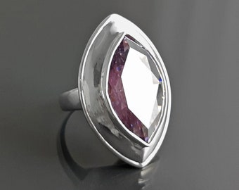 Purple Oval Ring, Sterling Silver, Lavender Purple Color Cz Stone, Almond Shape Stone, Stately Modern Jewelry, Geometric Oval Ring