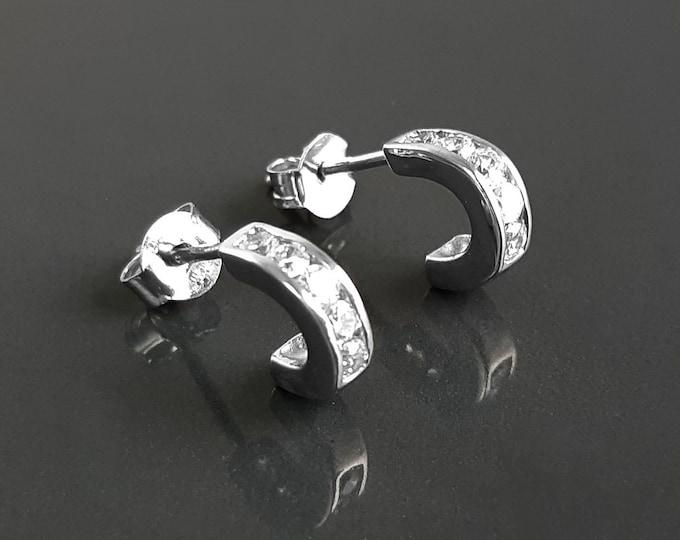 Open Stud Hoop, with Cz stone, Solid Sterling Silver studs Hoops Earrings, Women Jewelry,  white Zirconias setting