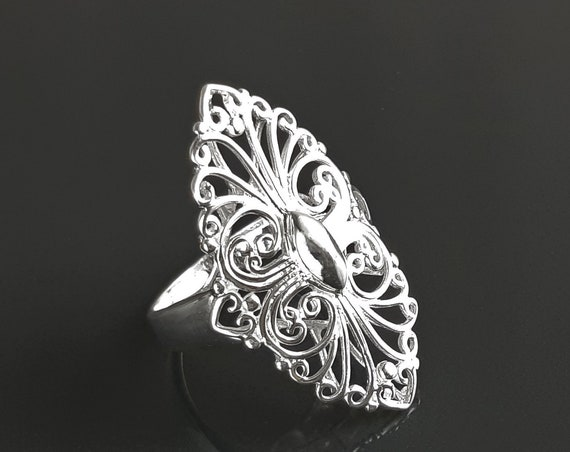 Filigree Marquise Ring, Sterling Silver Lace Ring with French Versailles Castle inspired Design, Vintage jewelry
