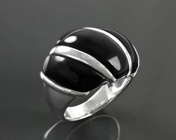 Beautiful Onyx Ring, Women Silver Ring, Onyx Silver Ring, Dome Ring, Black Wave Ring, Squiggle Ring, Wide Silver Ring, Fashion Vintage Ring