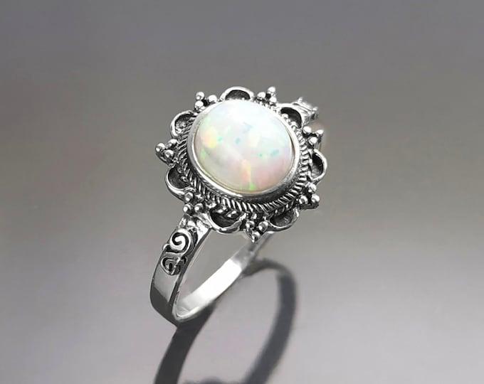 Opal Dainty Ring, Sterling Silver, Fiery White Opal Gemstone Jewelry, Oval Opal Stone Jewelry, Woman Boho Tribal Vintage Style Gift