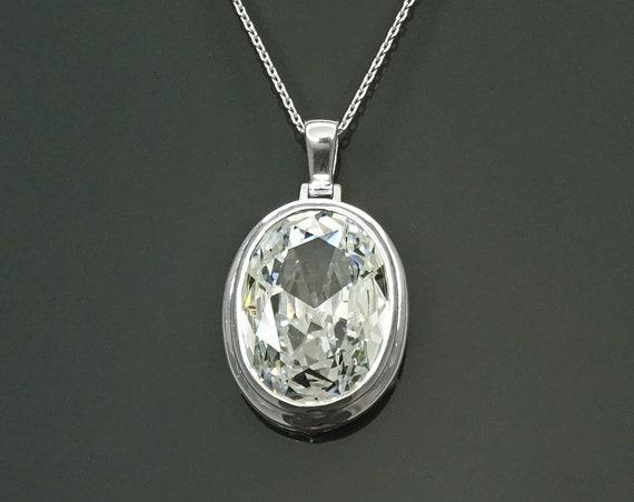 Modern Oval Pendant - Sterling Silver 925 - White Diamond Color - Diamond Cubic Zirconia - Oval Cz Pendant - Diamond Look Pendant - Gift