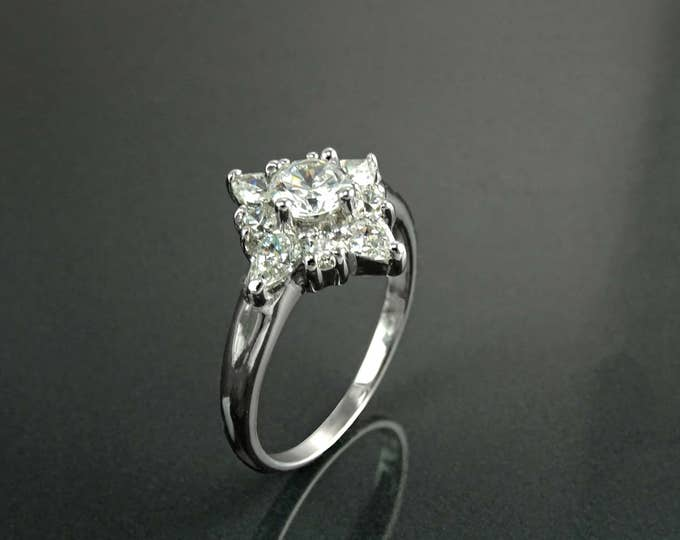 North Star Ring, Sterling Silver, Engagement Ring, White Clear Stone (CZ), Party Ring, Celebration Gift, Promise Jewelry