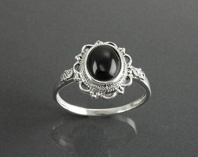 Black Dainty Ring, Sterling Silver 925, Black Stone Ring, Onyx Gemstone Jewelry, Gypsy Boho Tribal Ring, Victorian Ring, Woman Ring