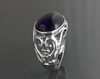 boho amethyst ring, sterling silver, genuine purple amethyst stone ring, vintage art nouveau jewelry art deco