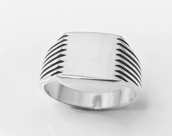 Signet Ring, Sterling Silver, Classic Mens Signet Ring, Men ring, Cushion Square Signet Ring, Popular Hipster Ring, Unisex jewelry Gift
