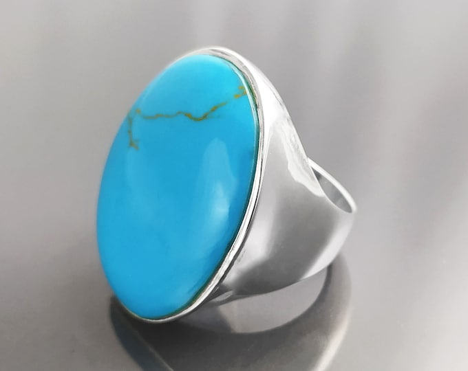 Turquoise Ring, Sterling Silver, Blue Turquoise Stone, Original Rectangle Oval Form Jewelry, Unique Statement Modern Ring