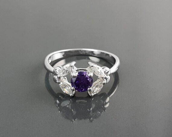 Halo Amethyst Solitaire Ring, Sterling Silver, Lab Purple Amethyst and Diamonds Simulant (CZ), Modern Minimalist Stone Jewelry, Woman Ring