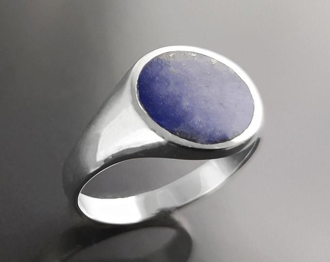 Lapis Signet Ring, Sterling Silver, Blue Lapis-Lazuli Gemstone, Hipster Mens Man Jewelry, Unisex Pinky Ring, Round Flat Stone Christmas Gift