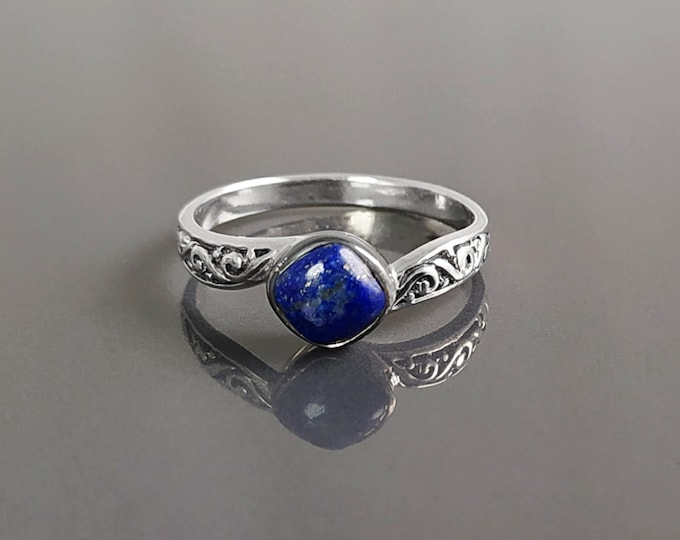 Celtic Lapis Ring, Sterling Silver, Genuine Blue Lapis Lazuli Stone, Dainty Stone Ring, Round Square Jewelry, Women Viking Antique Ring