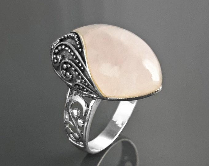 Rose Quartz Ring, Sterling Silver, NATURAL Quartz Pink Stone, Antique Filigree Design, Almond Oval Ring, Quartz Birthstone Jewelry