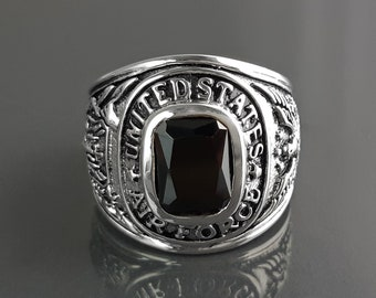 American Men Ring US Air Force Ring Sterling Silver 925 US Army Jewelry Black stone Ring Modern Mens Ring Man jewelry Gift Idea for him