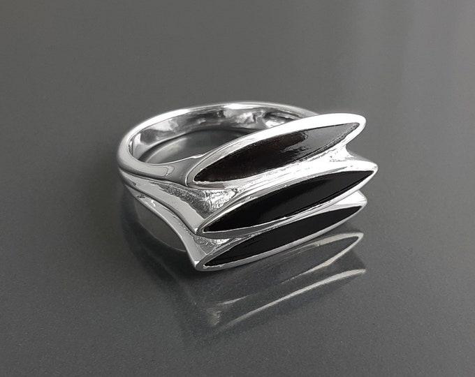 Black stone Ring, Sterling Silver, GENUINE Onyx Jewelry Stones, Modern Geometric Design, 3 Three Triple Flat Ring
