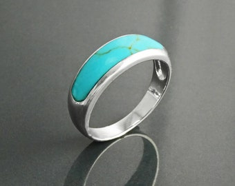 Turquoise Band Ring, Sterling Silver,  Modern Blue Turquoise Jewelry, Sleek Inlay Turquoise Band, Stackable Minimalist Flat Turquoise Stone