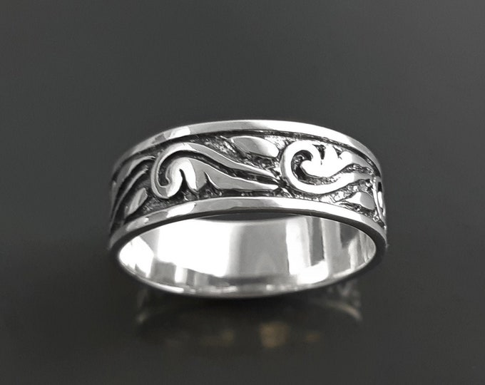 Wings Band Ring, Sterling silver, Engraved Freedom Wing, Angels Wings of Liberty Pattern, Large Tatoo Band Ring, Unisex Men Women Gift