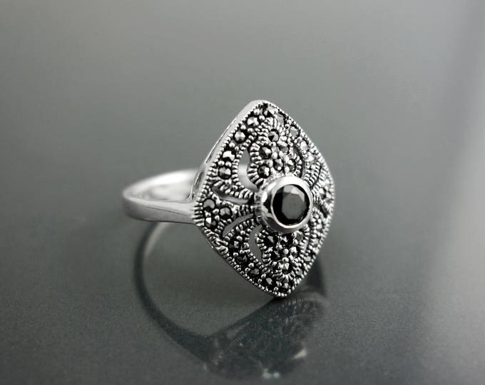Dainty Marquise Marcasite Ring, Sterling Silver, Vintage Ring, Lab Black Diamond Simulant, Retro Black Stone Rings, Women's Gifts