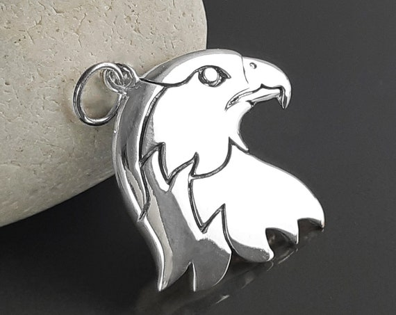 Bald eagle necklace, sterling silver, american eagle head, silver biker pendant, Harley lover necklace, rock n roll jewelry, gift for men