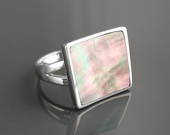 Gray Square Ring, Sterling Silver, Curved Square Geometric Stone Ring, Genuine Grey Paua Shell jewelry, Modern Ring, Rainbow Color