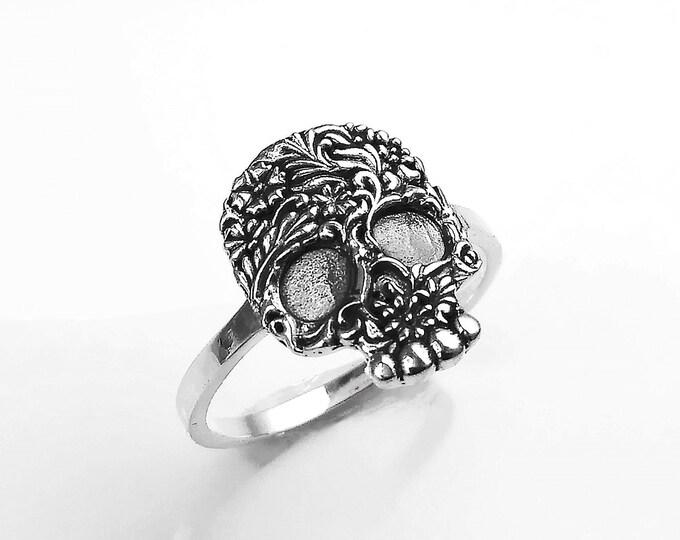 Candy Skull Ring, Silver 925, Woman Calavera flat Sugar Skull Head, Catrina del Dia de Los Muertos Jewelry, Mexican Day of the Dead Cranium