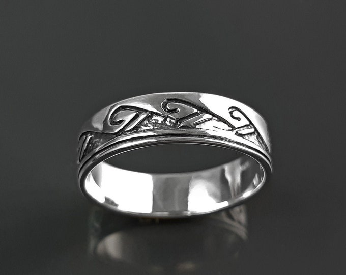 Tribal Wave Ring, Sterling Silver, Surfer Beach Band, Carved Ocean Waves Pattern, Unique Ocean Jewelry, Unisex ring