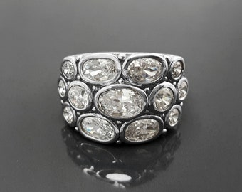 White Clear Stone Ring, Sterling Silver, Intricate Design, Unique Design Ring, Oval Clear Stone Cz Ring, Boho Multiple Stones Rings