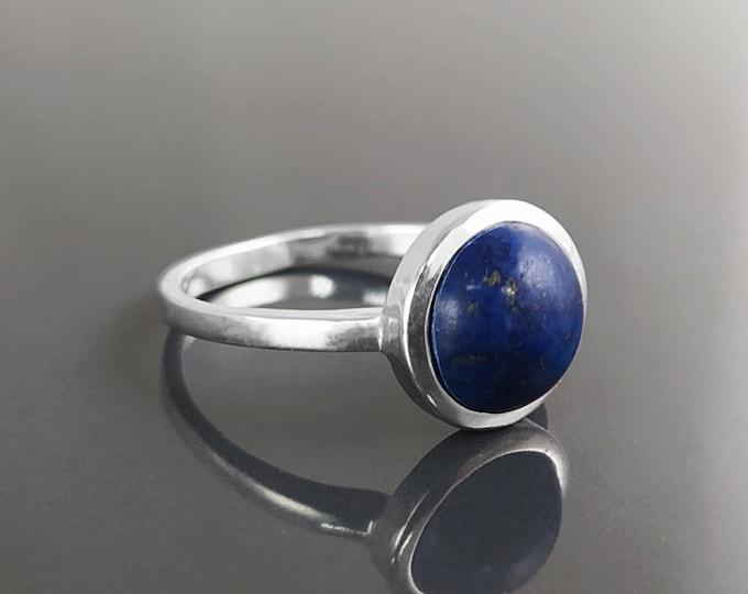 Blue Lapis Ring, Sterling Silver, Round Blue Stone Ring, Genuine Lapis Lazuli Gemstone Birthstone Jewelry, Modern Minimalist Style Gift
