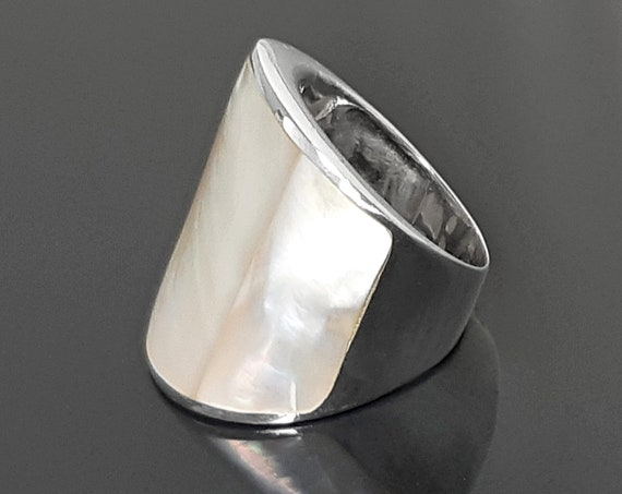 Statement Cuff Ring Sterling Silver genuine White Mother of Pearl Finger Armor Wide Ring 3 Pieces of White Pearl Shell MOP Large Ring