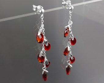 Red Earrings, Sterling Silver, Teardrop  two-toned Red Stones Earrings, Dangle Grape Garnett Color Cz Stone, Modern Drop, Modern Jewelry