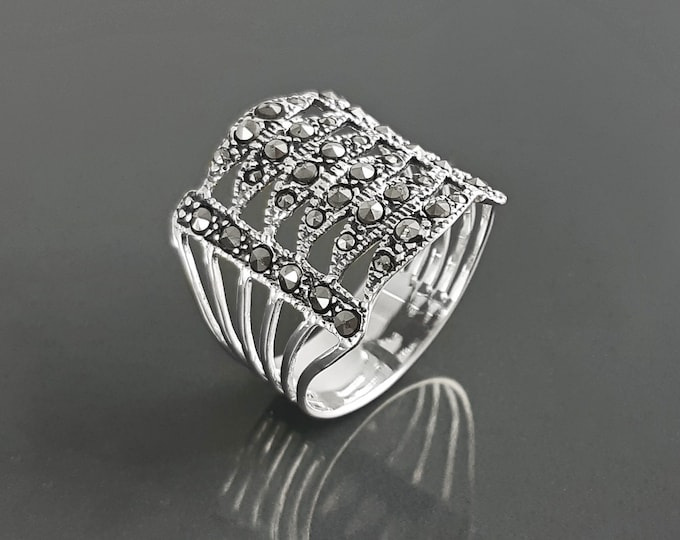 Art Deco Ring, Sterling Silver, Vintage Marcasites armor cuff band, Retro Roaring Twenties Inspired Marcasite jewelry