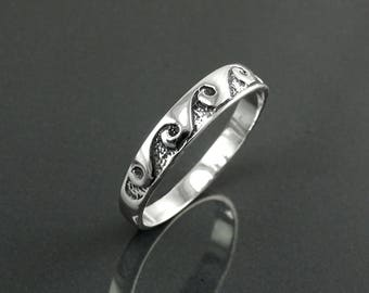 Ocean Wave Ring, Sterling Silver, Casual Beach Band, Carved Waves Pattern, Dainty Surfer Ring, Unique Ocean Jewelry, Hawaii Tribal Jewelry