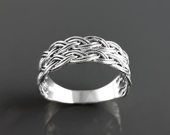 Celtic Ring, Plain Silver Ring, Silver Men Ring, Large Ring, Silver Tribal Rings, Celt Braided Ring, Silver 925, Gift
