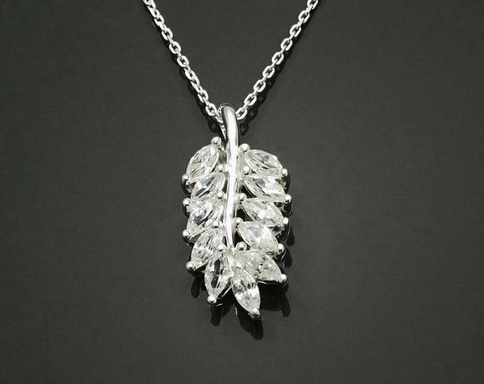 Laurel Leaves Necklace, Sterling Silver, Lab Diamonds Simulant (Cz), Fine Jewelry, Laurel Leaf Branch Charm, Unique Gifts for Her, Women