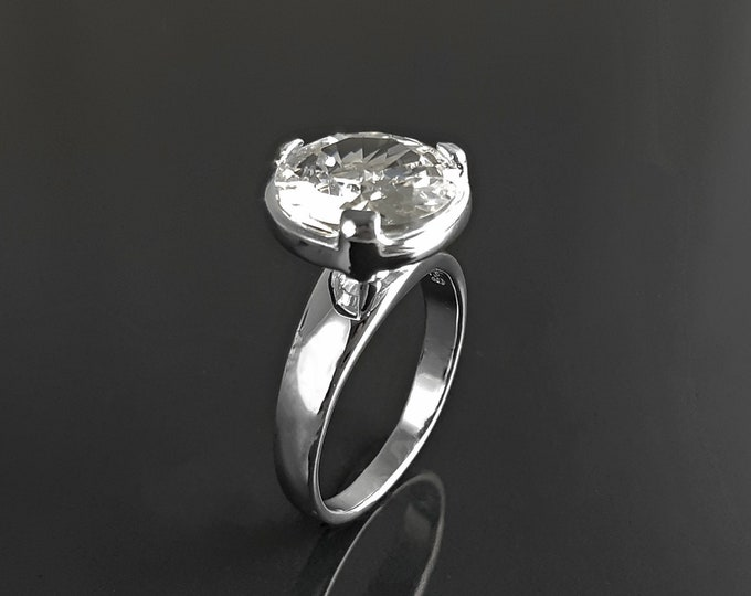 Solitaire ring, sterling silver, modern design Mounting ring, 2Ct white Clear Round Stone (Cz), stackable with band ring