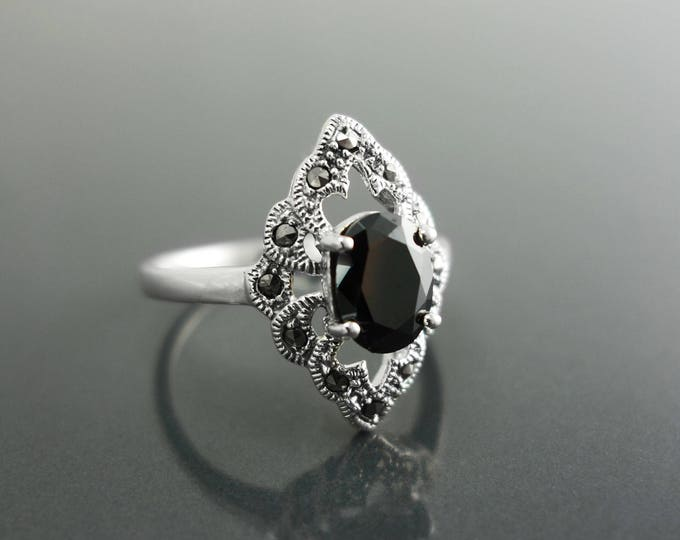 Black Marcasite Ring, Sterling Silver, Vintage Marquise Ring, Lab Black Diamond Simulant (Cz), Retro Stone Jewelry, Antique Women's Gifts