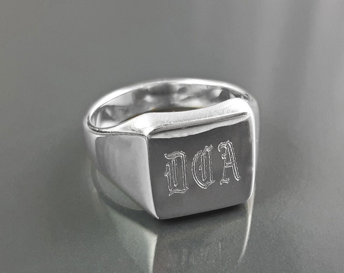 Personalized ring, sterling silver, initials letters signet square ring, personal monogram jewelry, hipster signet ring, custom name gift