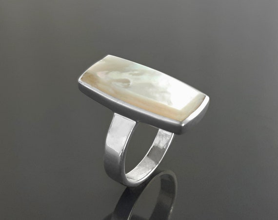 Rectangle ring, sterling silver ring set with a natural white mother-of-pearl MOP in a unique modern rectangle design