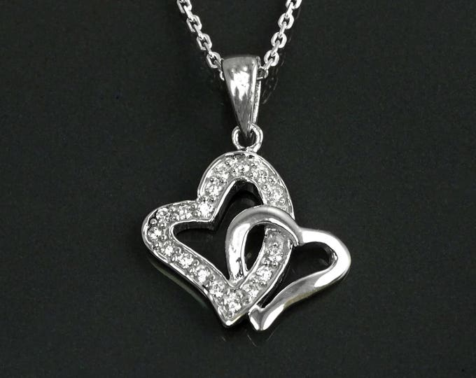 Double Hearts Necklace, Sterling Silver, Lab Diamonds Simulant, Crossing Heart Charm, You and Me Symbol, Love Jewelry, Mother's day Gifts