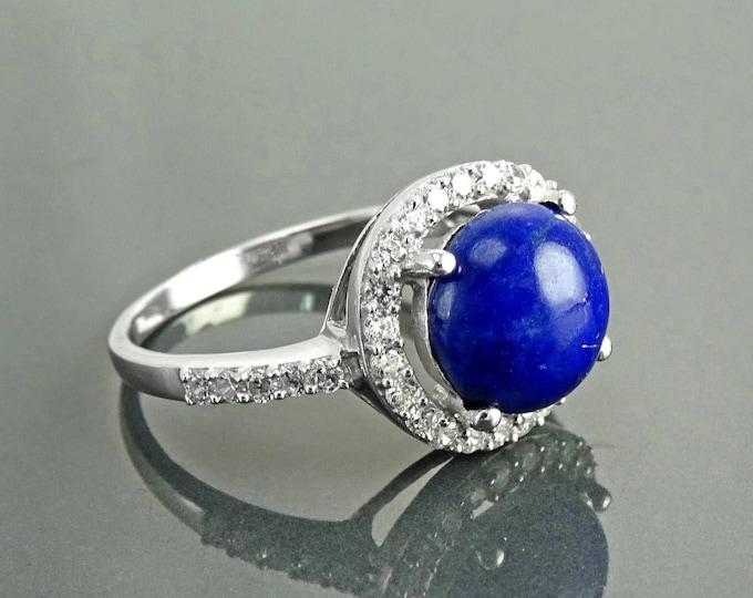 Lapis Ring, Sterling Silver, NATURAL Bleue Lapis Lazuli Round Stone, GENUINE Lapis Gemstone Jewelry, Halo setting  Cz stones ring