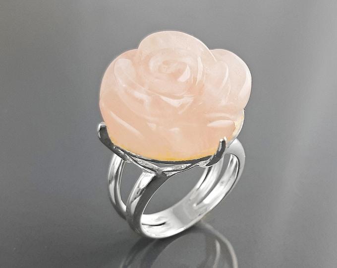 Rose Ring, Sterling Silver made, engraved stone, NATURAL Rose Quartz Gemstone jewelry, Rose flower, Floral design, Birthstone Ring