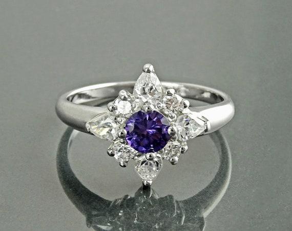 Purple North Star Ring, Sterling Silver, Lab Purple Amethyst simulant (CZ), Lab Diamonds simulant (CZ) Stones, Promise Ring, Modern Jewelry