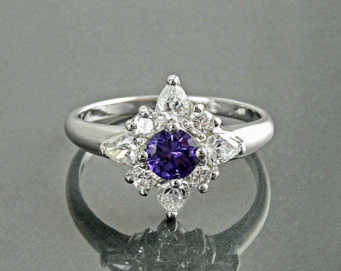 Purple North Star Ring, Sterling Silver, Amethyst Color Stone (CZ), White Clear (CZ) Stones, Modern Jewelry