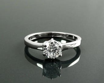 Solitaire Ring, Sterling Silver, Round Clear White Stone (CZ), Low setting, 1ctStandard size