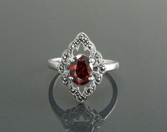 Garnet Marcasite Ring, Sterling Silver, Vintage Marquise Ring, Lab Red Garnet Simulant, Retro Red Stone Rings, Women's Gifts