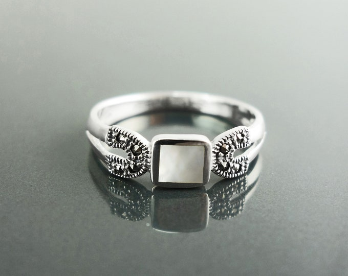 Vintage Square Band, Sterling Silver, Small Antique Art Deco Marcasite Ring, Genuine White Mother-of-Pearl, Retro Jewelry,  women's gifts
