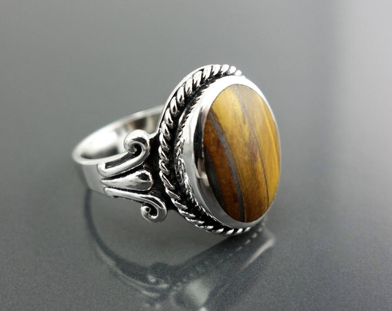 NATURAL Tiger Eye Ring, Sterling Silver, Brown Oval Stone Ring, Rope Ring, Unique Antique Design Ring, Vintage Hipster Boho Unisex Jewelry
