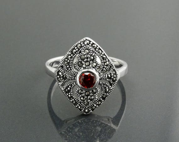 Garnet Marcasite Ring, Sterling Silver, Vintage Marquise Ring, Lab Red Garnet Simulant Cz, Retro Stone Rings, Antique Jewelry, Women's Gifts