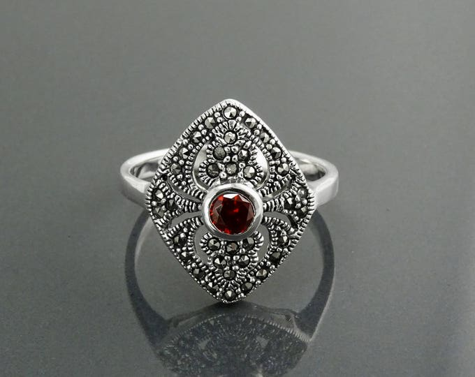 Medieval Red Ring, Sterling Silver, Vintage Marcasite Marquise Ring, Red Garnet Color Stone Cz, Retro Rings, Antique Jewelry, Women's Gifts